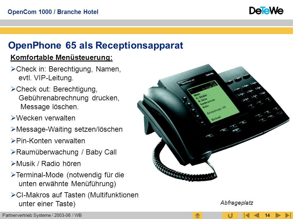 Partnervertrieb Systeme / 2003-06 / WB OpenCom 1000 / Branche Hotel 14 OpenPhone 65 als Receptionsapparat Komfortable Menüsteuerung:  Check in: Berec