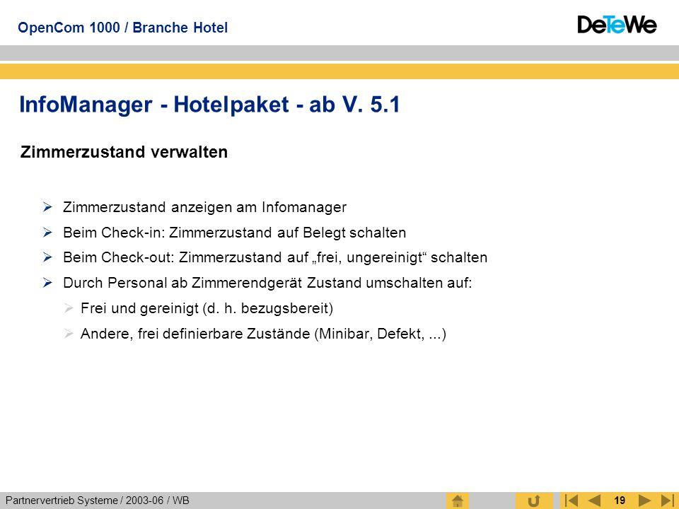Partnervertrieb Systeme / 2003-06 / WB OpenCom 1000 / Branche Hotel 19 Zimmerzustand verwalten  Zimmerzustand anzeigen am Infomanager  Beim Check-in