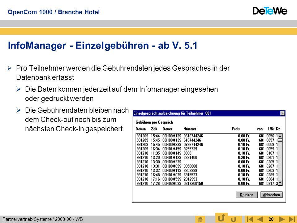 Partnervertrieb Systeme / 2003-06 / WB OpenCom 1000 / Branche Hotel 20  Pro Teilnehmer werden die Gebührendaten jedes Gespräches in der Datenbank erf