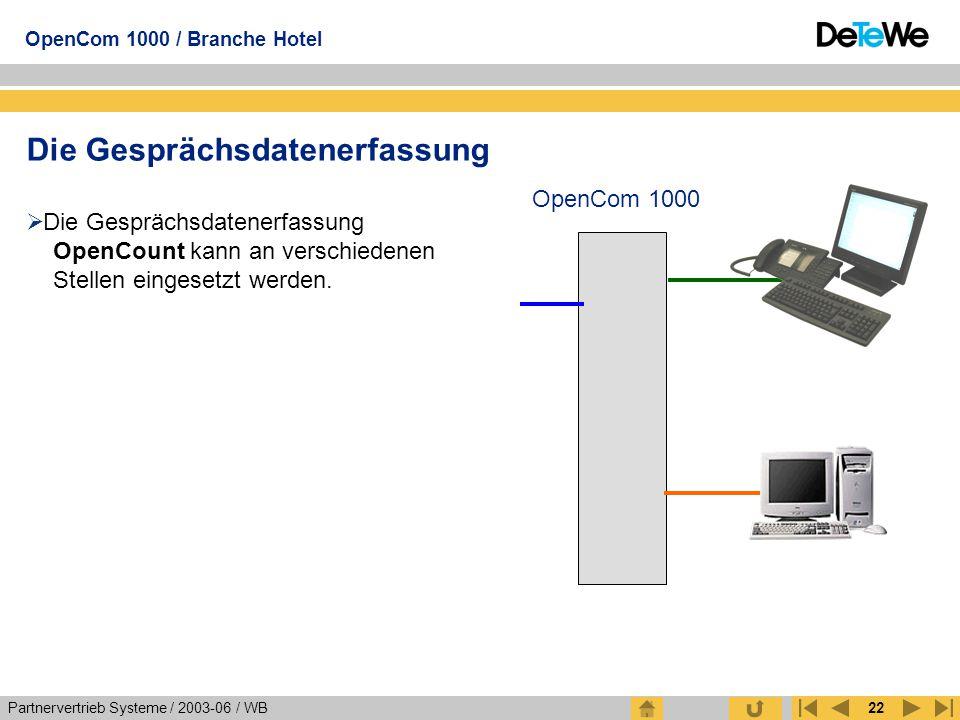 Partnervertrieb Systeme / 2003-06 / WB OpenCom 1000 / Branche Hotel 22 Die Gesprächsdatenerfassung  Die Gesprächsdatenerfassung OpenCount kann an ver