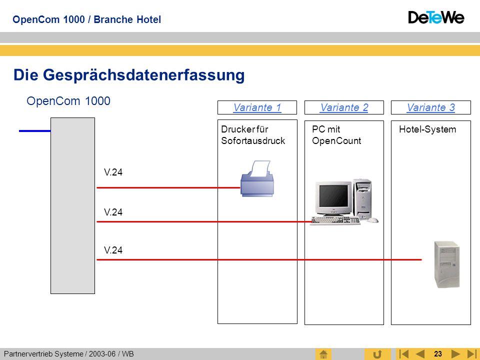Partnervertrieb Systeme / 2003-06 / WB OpenCom 1000 / Branche Hotel 23 Die Gesprächsdatenerfassung OpenCom 1000 Drucker für Sofortausdruck V.24 PC mit