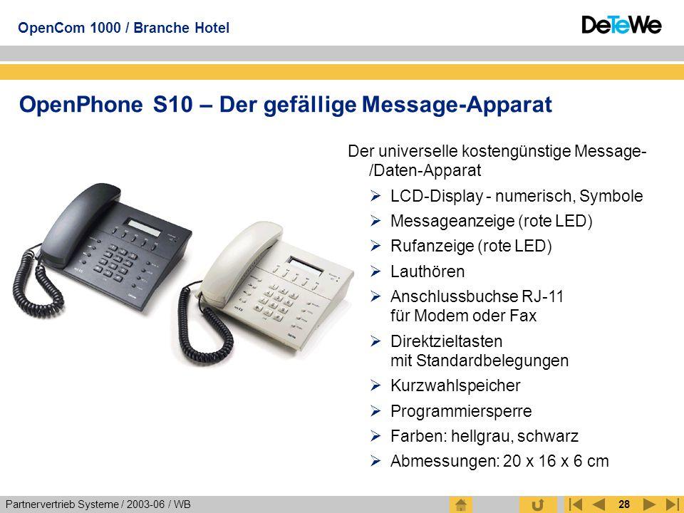 Partnervertrieb Systeme / 2003-06 / WB OpenCom 1000 / Branche Hotel 28 OpenPhone S10 – Der gefällige Message-Apparat Der universelle kostengünstige Me