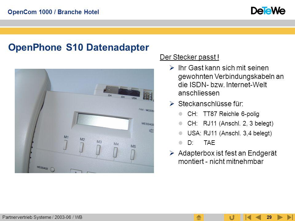 Partnervertrieb Systeme / 2003-06 / WB OpenCom 1000 / Branche Hotel 29 OpenPhone S10 Datenadapter Der Stecker passt !  Ihr Gast kann sich mit seinen