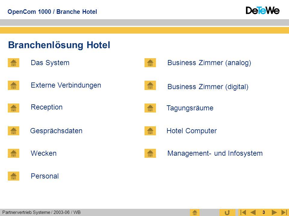 Partnervertrieb Systeme / 2003-06 / WB OpenCom 1000 / Branche Hotel 3 Branchenlösung Hotel Das System Externe Verbindungen Reception Gesprächsdaten Pe