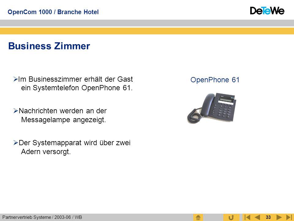 Partnervertrieb Systeme / 2003-06 / WB OpenCom 1000 / Branche Hotel 33 Business Zimmer  Im Businesszimmer erhält der Gast ein Systemtelefon OpenPhone
