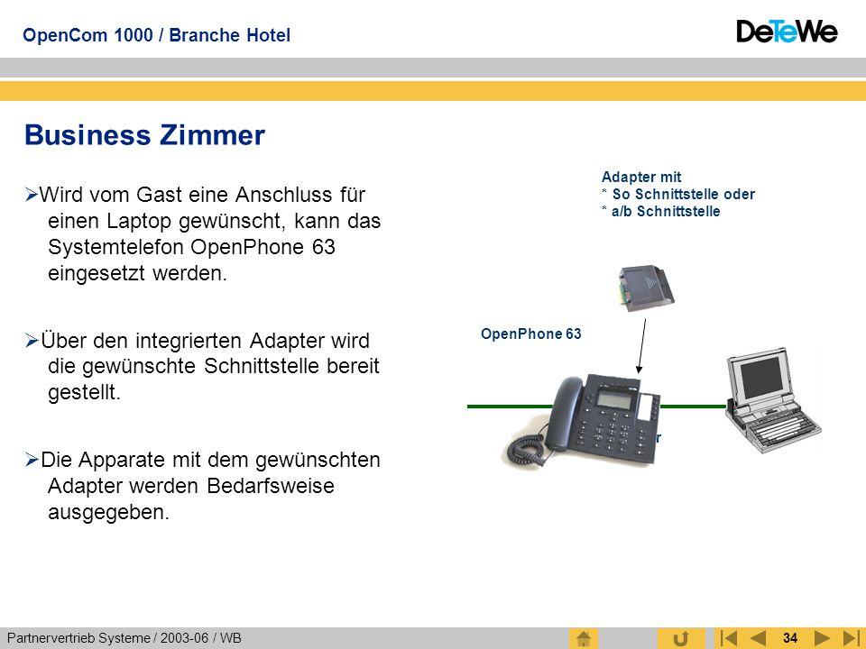 Partnervertrieb Systeme / 2003-06 / WB OpenCom 1000 / Branche Hotel 34 Business Zimmer  Wird vom Gast eine Anschluss für einen Laptop gewünscht, kann