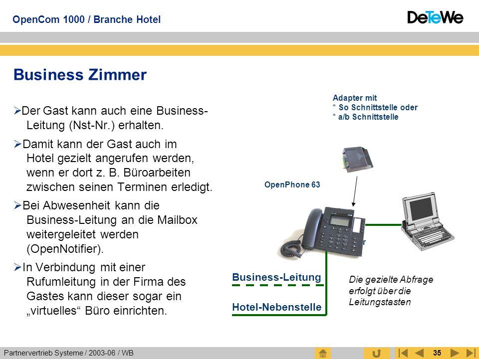 Partnervertrieb Systeme / 2003-06 / WB OpenCom 1000 / Branche Hotel 35 Business Zimmer  Der Gast kann auch eine Business- Leitung (Nst-Nr.) erhalten.