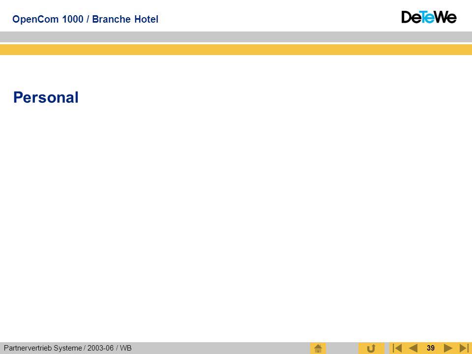Partnervertrieb Systeme / 2003-06 / WB OpenCom 1000 / Branche Hotel 39 Personal