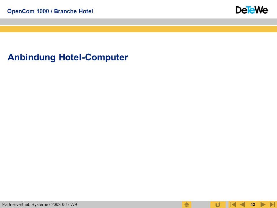 Partnervertrieb Systeme / 2003-06 / WB OpenCom 1000 / Branche Hotel 42 Anbindung Hotel-Computer
