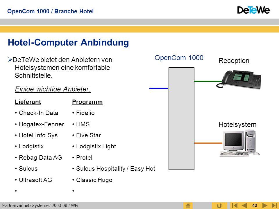 Partnervertrieb Systeme / 2003-06 / WB OpenCom 1000 / Branche Hotel 43 Hotel-Computer Anbindung  DeTeWe bietet den Anbietern von Hotelsystemen eine k