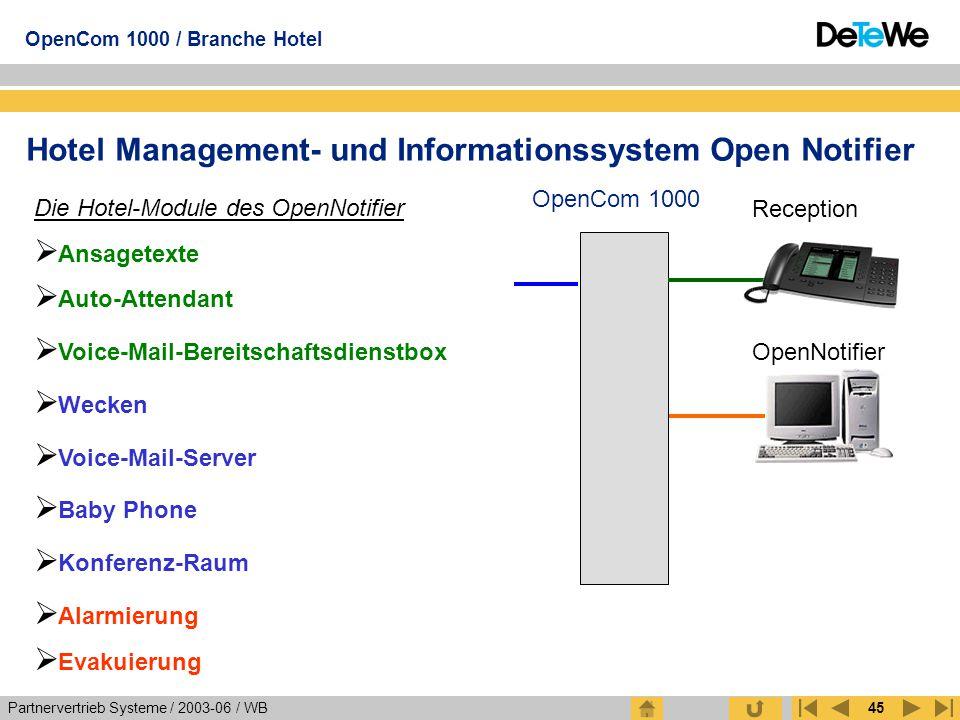 Partnervertrieb Systeme / 2003-06 / WB OpenCom 1000 / Branche Hotel 45 Hotel Management- und Informationssystem Open Notifier OpenCom 1000 OpenNotifie