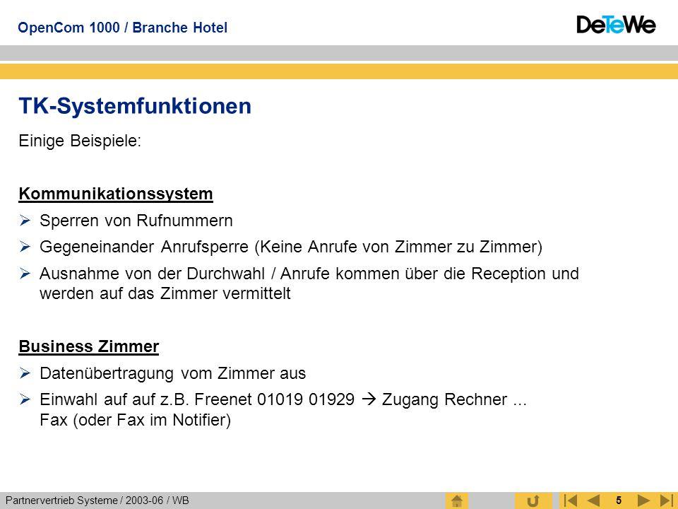 Partnervertrieb Systeme / 2003-06 / WB OpenCom 1000 / Branche Hotel 5 TK-Systemfunktionen Einige Beispiele: Kommunikationssystem  Sperren von Rufnumm