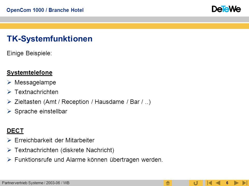 Partnervertrieb Systeme / 2003-06 / WB OpenCom 1000 / Branche Hotel 6 TK-Systemfunktionen Einige Beispiele: Systemtelefone  Messagelampe  Textnachri