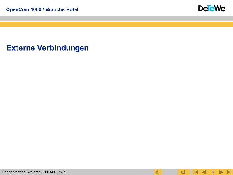 Partnervertrieb Systeme / 2003-06 / WB OpenCom 1000 / Branche Hotel 8 Externe Verbindungen