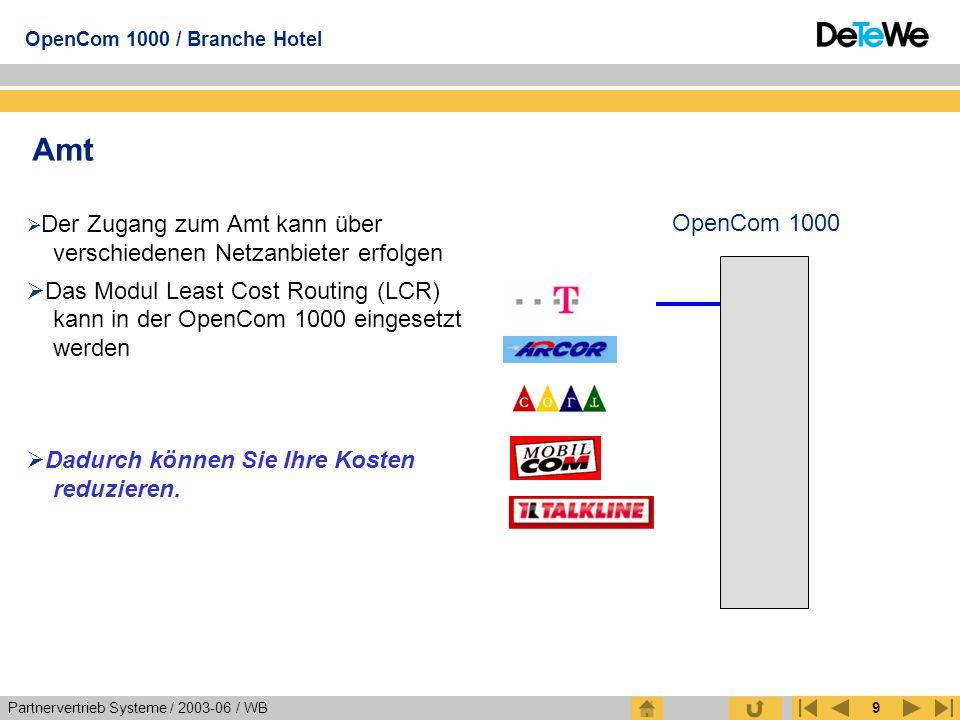 Partnervertrieb Systeme / 2003-06 / WB OpenCom 1000 / Branche Hotel 9 Amt  Der Zugang zum Amt kann über verschiedenen Netzanbieter erfolgen  Das Mod