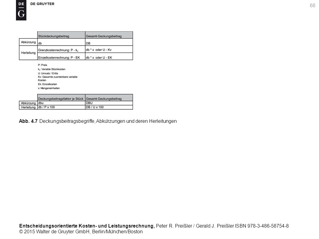 Entscheidungsorientierte Kosten- und Leistungsrechnung, Peter R.