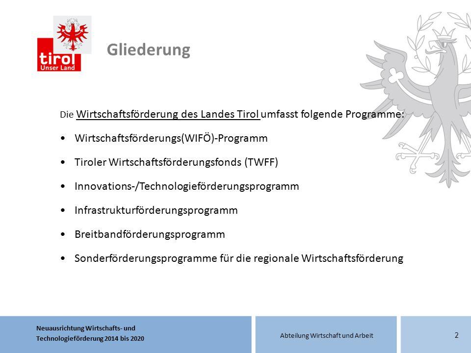 Neuausrichtung Wirtschafts- und Technologieförderung 2014 bis 2020 Abteilung Wirtschaft und Arbeit 2 Die Wirtschaftsförderung des Landes Tirol umfasst