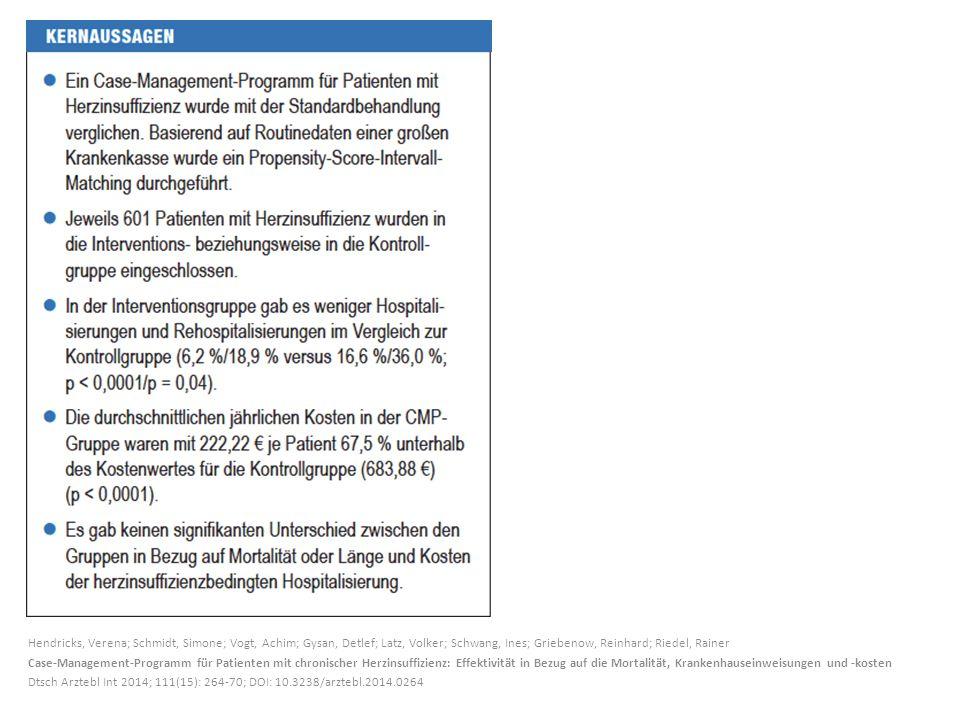 Hendricks, Verena; Schmidt, Simone; Vogt, Achim; Gysan, Detlef; Latz, Volker; Schwang, Ines; Griebenow, Reinhard; Riedel, Rainer Case-Management-Programm für Patienten mit chronischer Herzinsuffizienz: Effektivität in Bezug auf die Mortalität, Krankenhauseinweisungen und -kosten Dtsch Arztebl Int 2014; 111(15): 264-70; DOI: 10.3238/arztebl.2014.0264