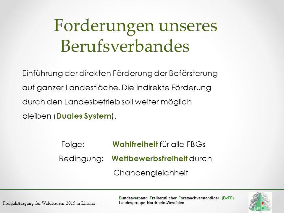 Bundesverband Freiberuflicher Forstsachverständiger (BvFF) Landesgruppe Nordrhein-Westfalen Frühjahrstagung für Waldbauern 2015 in Lindlar Forderungen