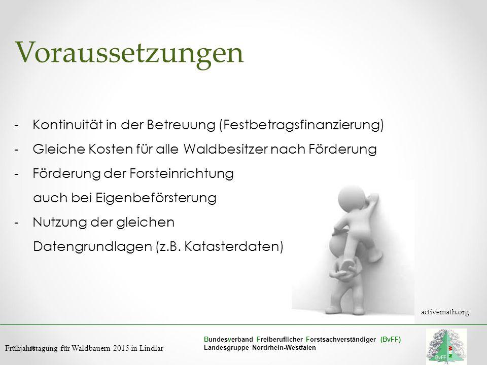 Bundesverband Freiberuflicher Forstsachverständiger (BvFF) Landesgruppe Nordrhein-Westfalen Frühjahrstagung für Waldbauern 2015 in Lindlar Voraussetzu