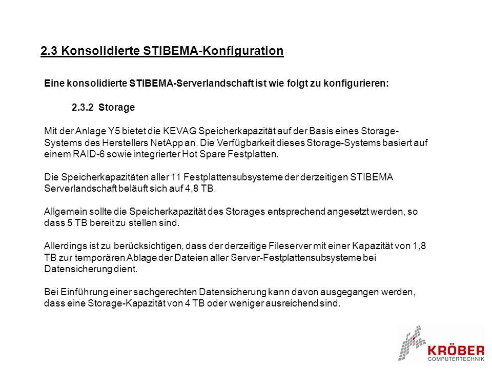 2.3 Konsolidierte STIBEMA-Konfiguration 2.3.2 Storage Eine konsolidierte STIBEMA-Serverlandschaft ist wie folgt zu konfigurieren: Mit der Anlage Y5 bi