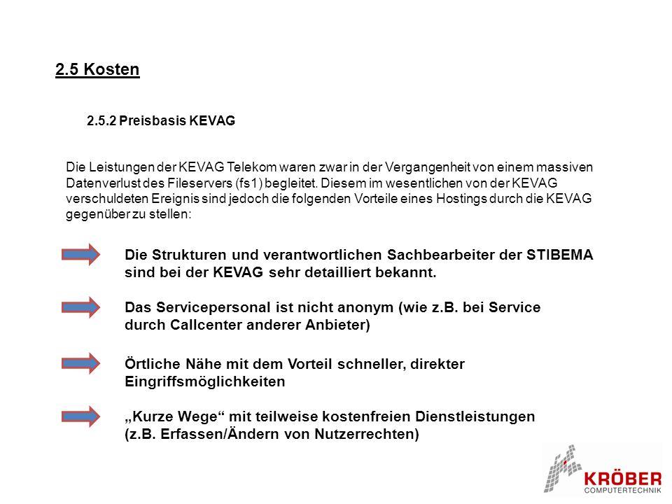2.5 Kosten 2.5.2 Preisbasis KEVAG Die Leistungen der KEVAG Telekom waren zwar in der Vergangenheit von einem massiven Datenverlust des Fileservers (fs