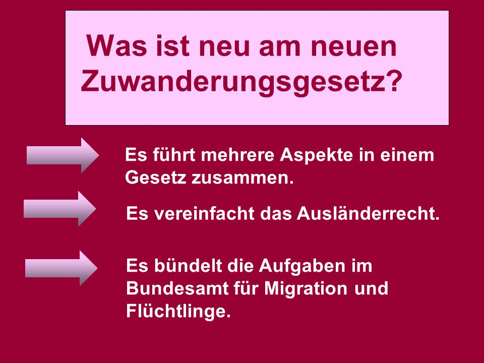 Was ist neu am neuen Zuwanderungsgesetz? Es führt mehrere Aspekte in einem Gesetz zusammen. Es vereinfacht das Ausländerrecht. Es bündelt die Aufgaben