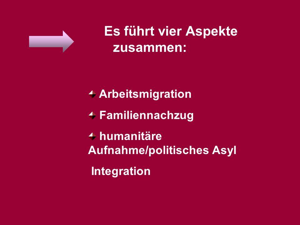 Arbeitsmigration nachfrageorientierte Arbeitsmigration (mit Vorrangprüfung) dauerhafter Aufenthalt für Hochqualifizierte Punktesystem im Bedarfsfall Arbeitsaufnahme für Studienabsolventen Selbständige