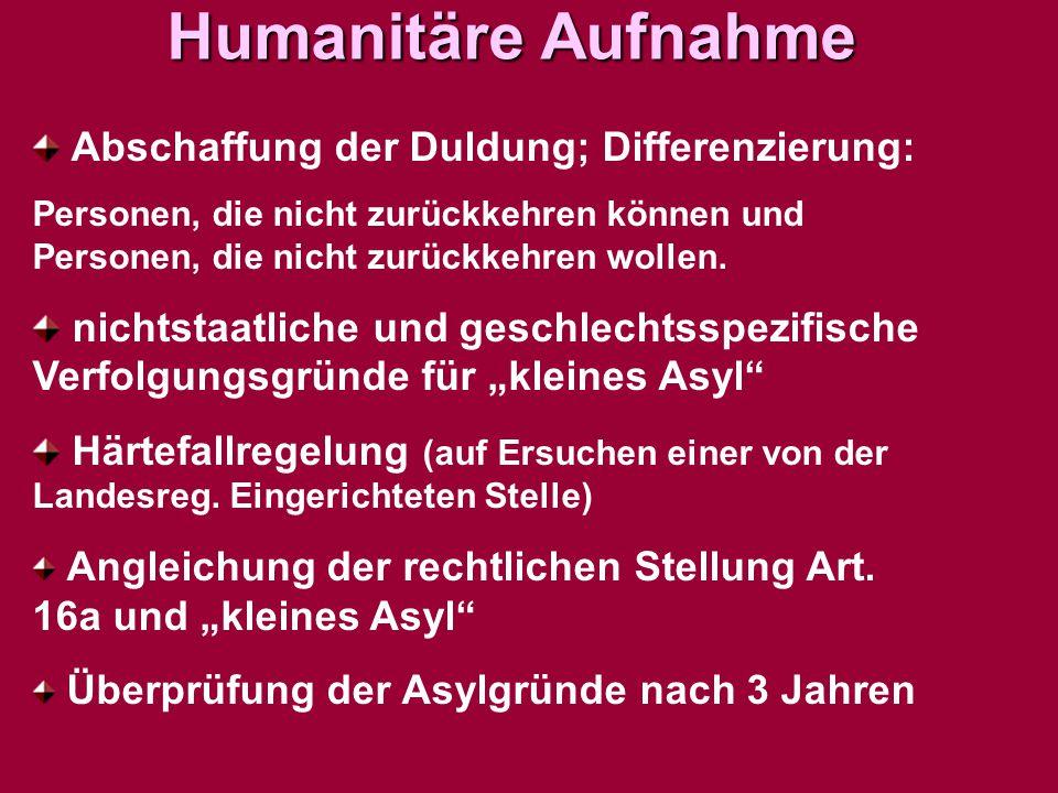 Humanitäre Aufnahme Abschaffung der Duldung; Differenzierung: Personen, die nicht zurückkehren können und Personen, die nicht zurückkehren wollen. nic