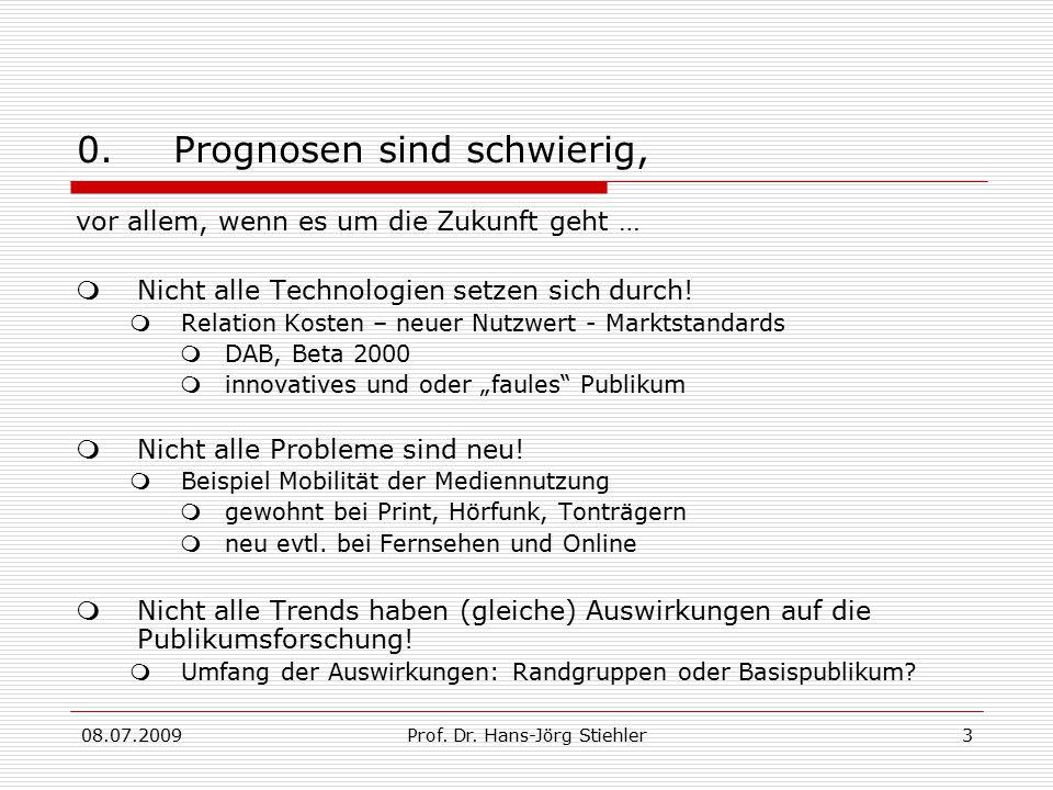 08.07.2009Prof. Dr. Hans-Jörg Stiehler3 0.Prognosen sind schwierig, vor allem, wenn es um die Zukunft geht …  Nicht alle Technologien setzen sich dur