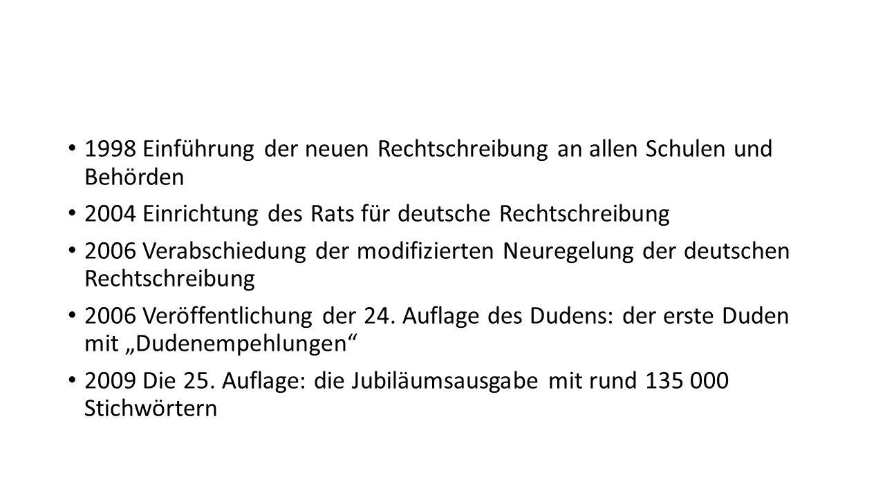 1998 Einführung der neuen Rechtschreibung an allen Schulen und Behörden 2004 Einrichtung des Rats für deutsche Rechtschreibung 2006 Verabschiedung der