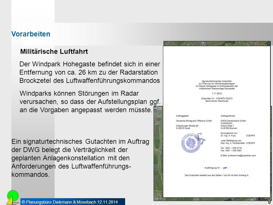 © Planungsbüro Diekmann & Mosebach 12.11.2014 9 Militärische Luftfahrt Vorarbeiten Der Windpark Hohegaste befindet sich in einer Entfernung von ca. 26