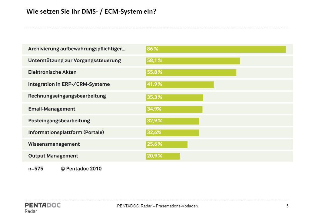 PENTADOC Radar – Präsentations-Vorlagen5 Wie setzen Sie Ihr DMS- / ECM-System ein?