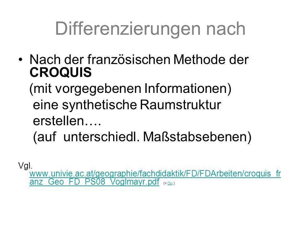 Differenzierungen nach Nach der französischen Methode der CROQUIS (mit vorgegebenen Informationen) eine synthetische Raumstruktur erstellen….
