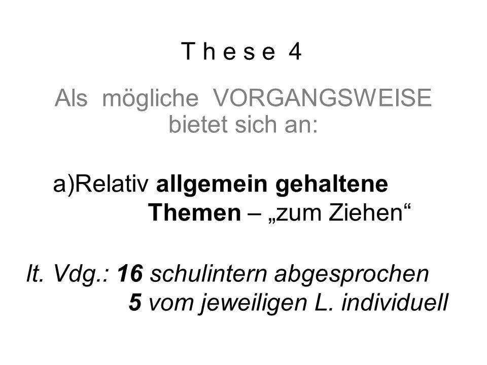 """T h e s e 4 Als mögliche VORGANGSWEISE bietet sich an: a)Relativ allgemein gehaltene Themen – """"zum Ziehen b) konkretisierte Fragen, die vom L."""