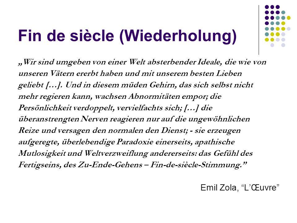 Fin de siècle (Wiederholung) Joris-Karl Huysmans: A rebours (1884, dt.