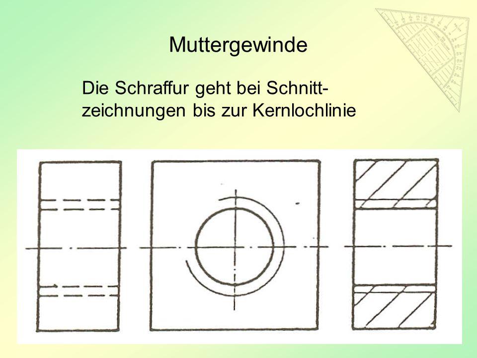 47 Muttergewinde Die Schraffur geht bei Schnitt- zeichnungen bis zur Kernlochlinie