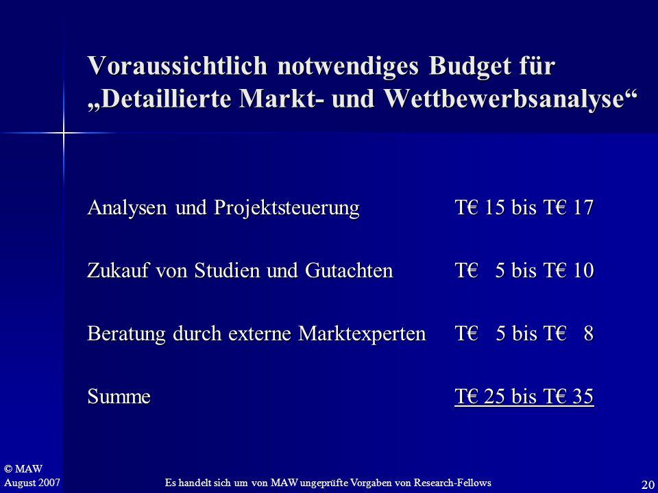 """© MAW August 2007 Voraussichtlich notwendiges Budget für """"Detaillierte Markt- und Wettbewerbsanalyse"""" Analysen und Projektsteuerung T€ 15 bis T€ 17 Zu"""