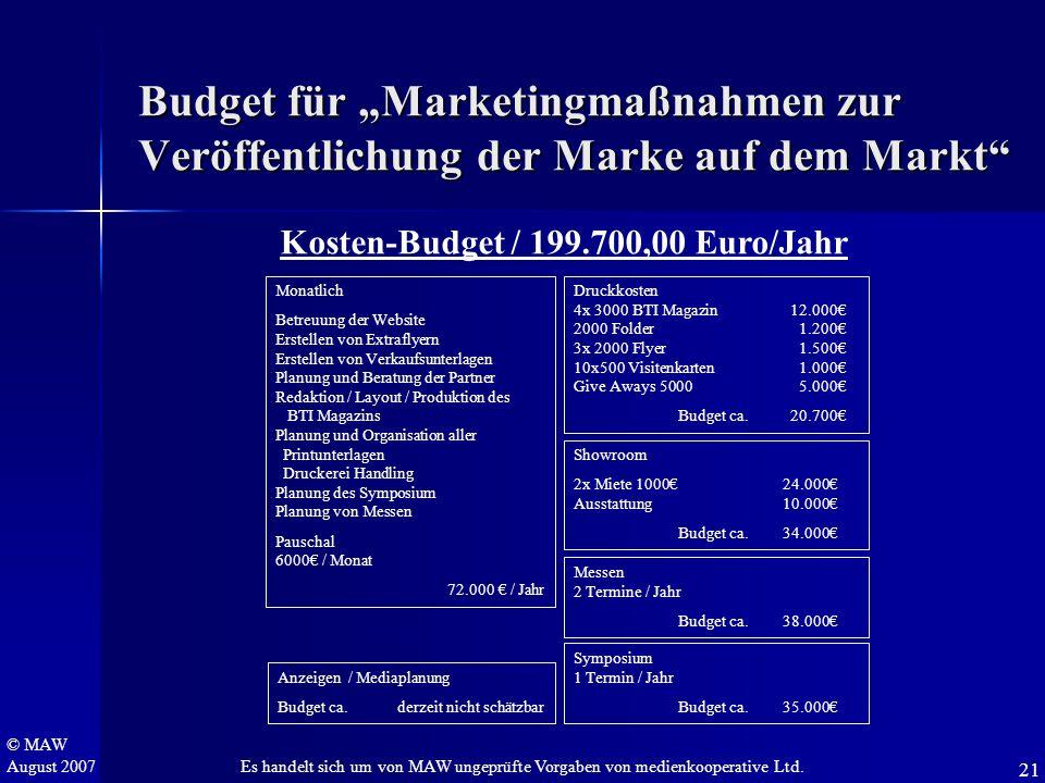 """© MAW August 2007 Budget für """"Marketingmaßnahmen zur Veröffentlichung der Marke auf dem Markt"""" Kosten-Budget / 199.700,00 Euro/Jahr Monatlich Betreuun"""