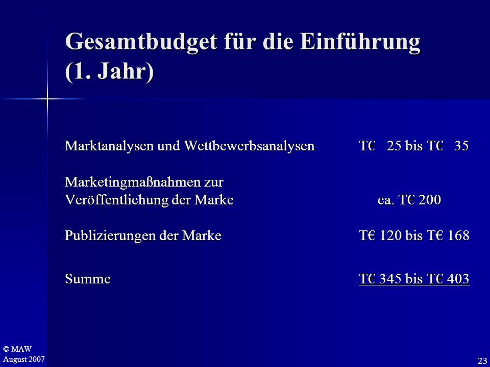 © MAW August 2007 Gesamtbudget für die Einführung (1. Jahr) Marktanalysen und WettbewerbsanalysenT€ 25 bis T€ 35 Marketingmaßnahmen zur Veröffentlichu