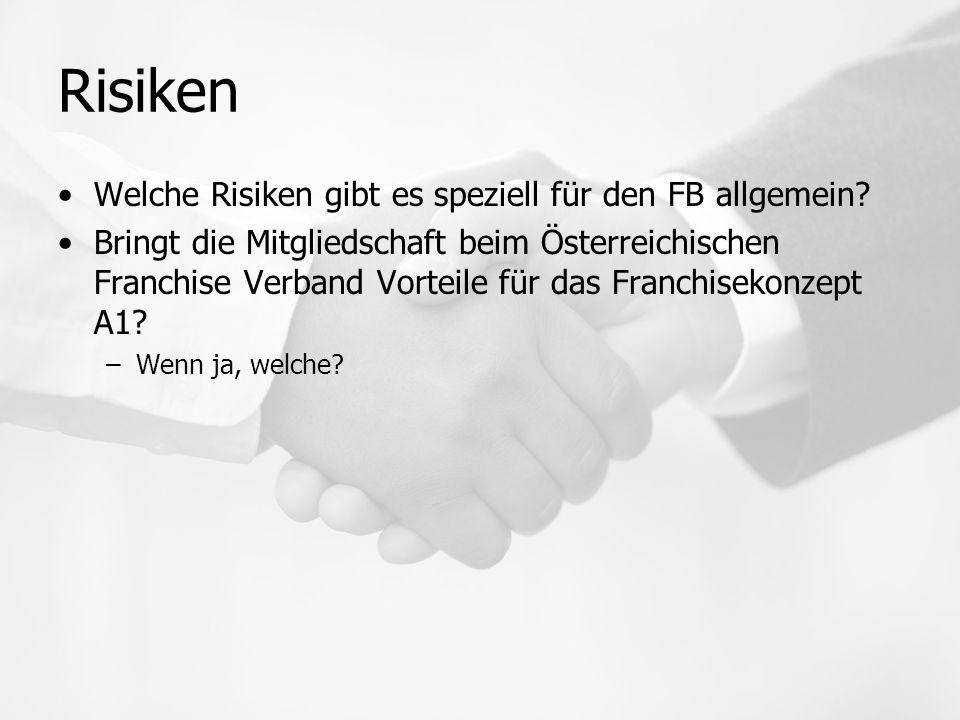 Risiken Welche Risiken gibt es speziell für den FB allgemein.