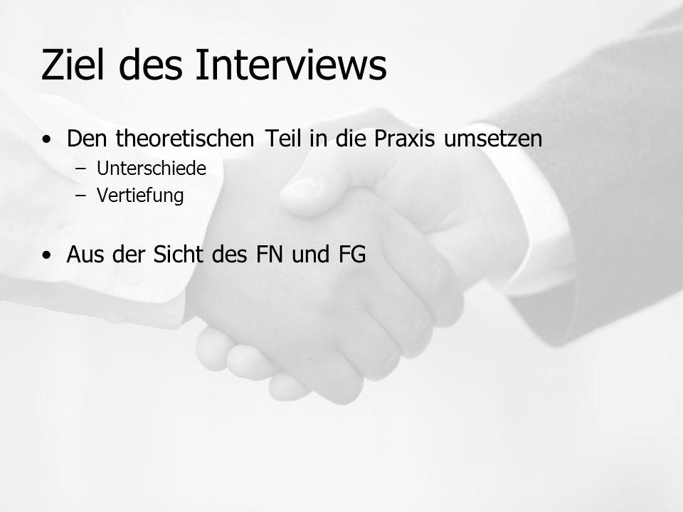 Ziel des Interviews Den theoretischen Teil in die Praxis umsetzen –Unterschiede –Vertiefung Aus der Sicht des FN und FG