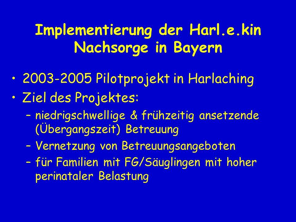 Implementierung der Harl.e.kin Nachsorge in Bayern 2003-2005 Pilotprojekt in Harlaching Ziel des Projektes: –niedrigschwellige & frühzeitig ansetzende (Übergangszeit) Betreuung –Vernetzung von Betreuungsangeboten –für Familien mit FG/Säuglingen mit hoher perinataler Belastung