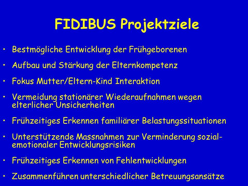 FIDIBUS Projektziele Bestmögliche Entwicklung der Frühgeborenen Aufbau und Stärkung der Elternkompetenz Fokus Mutter/Eltern-Kind Interaktion Vermeidun