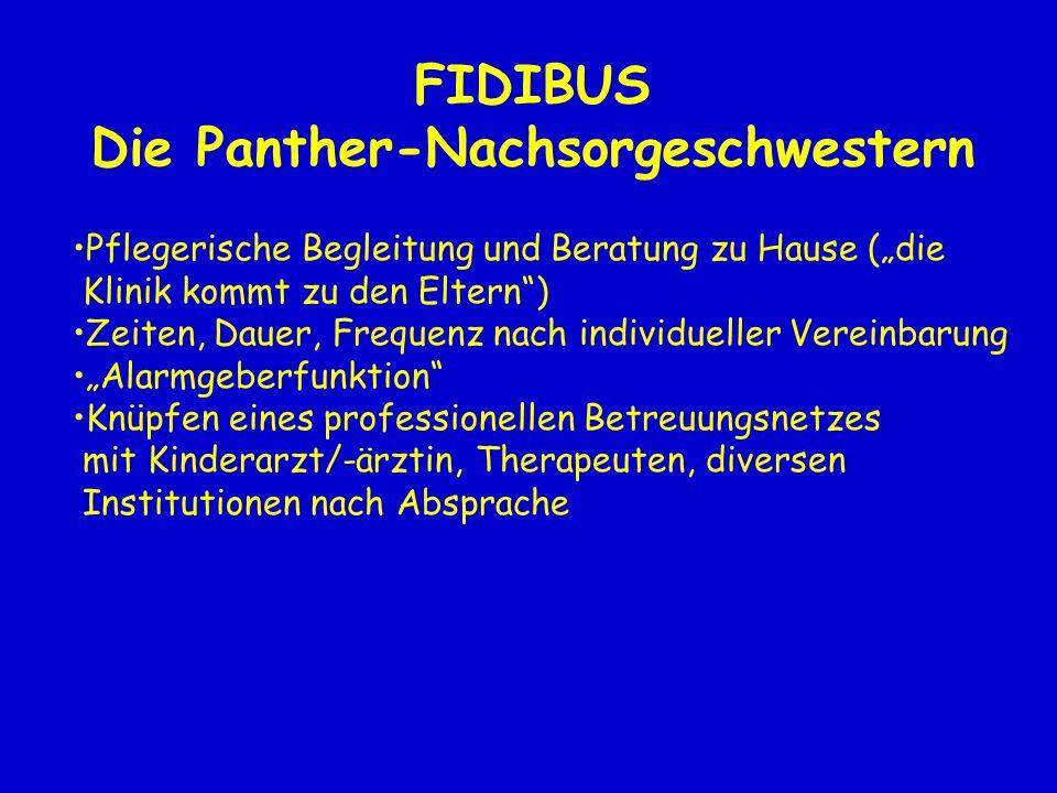 """FIDIBUS Die Panther-Nachsorgeschwestern Pflegerische Begleitung und Beratung zu Hause (""""die Klinik kommt zu den Eltern"""") Zeiten, Dauer, Frequenz nach"""