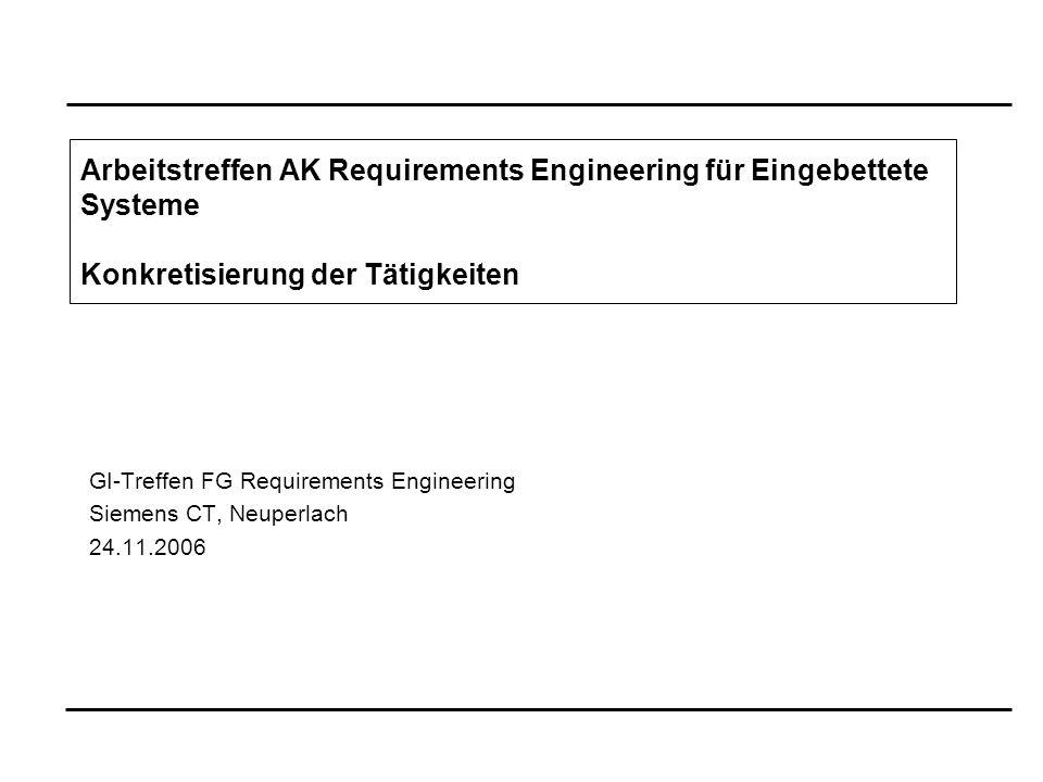 GI-Treffen FG Requirements Engineering Siemens CT, Neuperlach 24.11.2006 Arbeitstreffen AK Requirements Engineering für Eingebettete Systeme Konkretisierung der Tätigkeiten