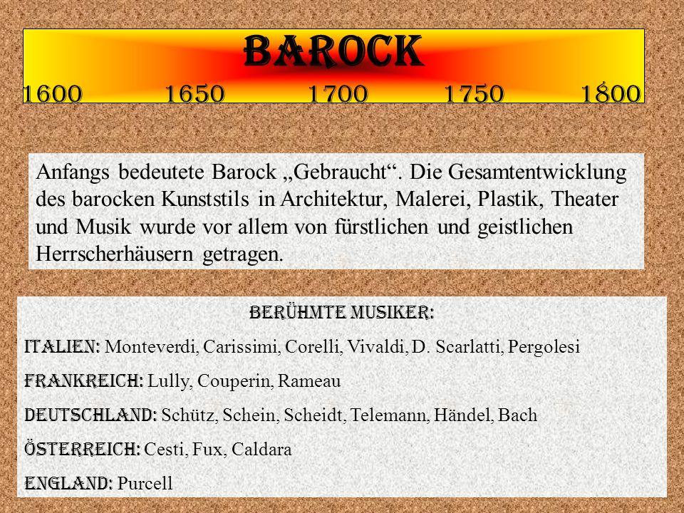"BAROCK 1600 1650 1700 1750 1800 Anfangs bedeutete Barock ""Gebraucht ."