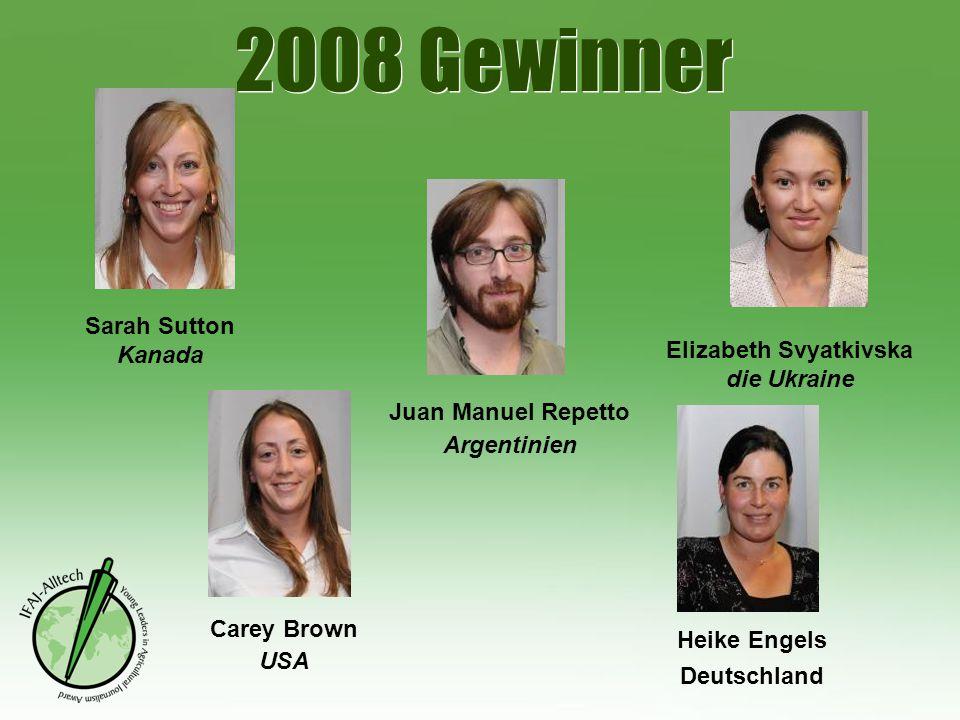 2008 Gewinner Sarah Sutton Kanada Juan Manuel Repetto Argentinien Carey Brown USA Heike Engels Deutschland Elizabeth Svyatkivska die Ukraine