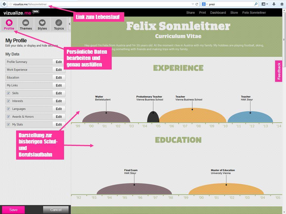 Persönliche Daten bearbeiten und genau ausfüllen Darstellung zur bisherigen Schul- und Berufslaufbahn Link zum Lebenslauf
