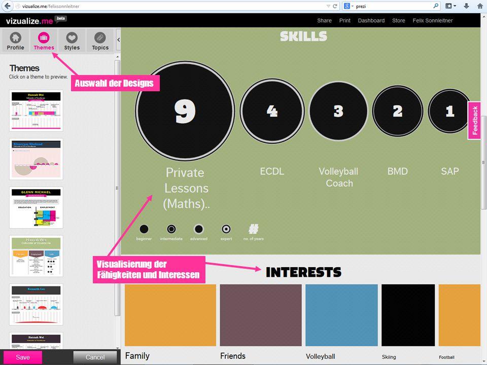 Auswahl der Designs Visualisierung der Fähigkeiten und Interessen